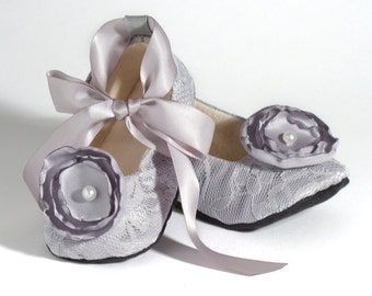grey lace baby shoe silver flower girl ballet slipper toddler wedding shoes little
