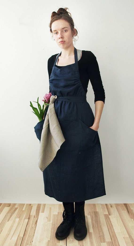 Natural linen apron Charcoal or custom color washed linen aprons