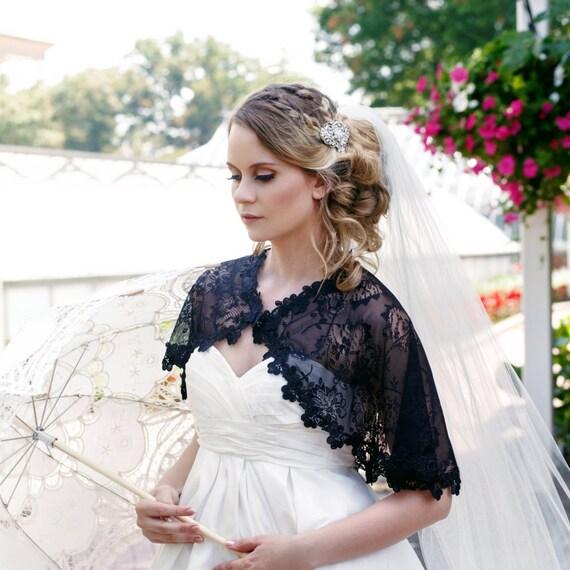 Black Lace Bridal Capelet Shrug Cover Up Gothic Lace Black Cape Capelet Gothic, Black Lace Capelet, Black Lace Shrug AVALON