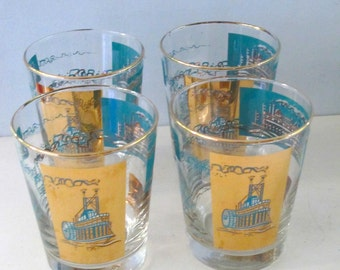 Set of 4 Vintage Libbey Mid Century Riverboat Whiskey Tumblers Retro Barware
