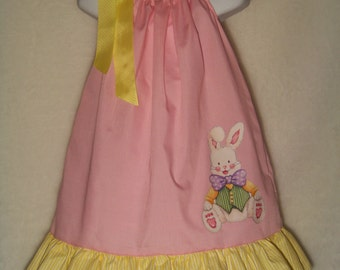 Easter Bunny Pillowcase Dress / Pink / Yellow/ Rabbit/ Cute / Newborn / Infant / Baby / Toddler / Girl / Birthday / Custom Boutique Clothing