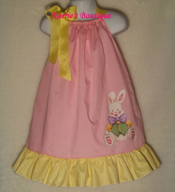Items similar to Easter Bunny Pillowcase Dress / Pink / Yellow/ Rabbit/ Cute / Newborn / Infant ...