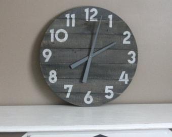 Gray Farmhouse Clock. Round, gray washed,  large clock, 24 inch Reclaimed Wood Clock. Farmhouse. Rustic modern. Gift idea.