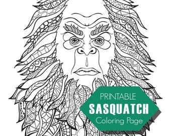 sasquatchbigfoot adult coloring page digital download