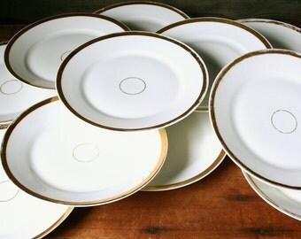 Antique Haviland Limoges Wedding Band dessert plates, porcelain dessert plates, wedding cake plates