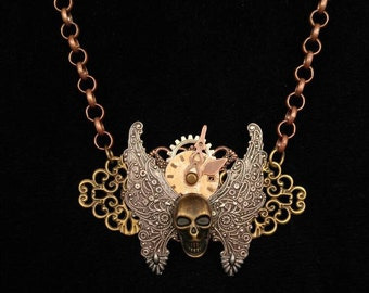Steampunk Skull Necklace Skull Jewelry Mixed Media Necklace Assemblage Necklace Wearable Art Jewelry
