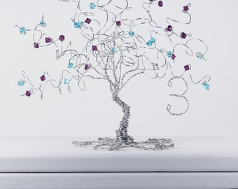 Anniversary Tree Sculpture Custom Wire Tree With Combination of Two Birthstones