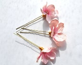 Light pink silk blossom flower, crystal, 24K gold wire and gold clour hair pins bobby pins wedding hair bride bridesmaids
