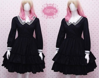 Full Black And White Collar Classic Victorian Dress - Classic Dress Inspired - Black Prom Dress - Gothic Dress - Custom in your size