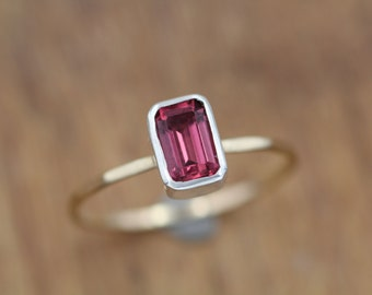 Rhodolite Garnet Stacking Ring - Rhodolite Ring - Rhodolite Emerald Cut - Barely There Ring - Smooth, Hammered or Twist Wire Band