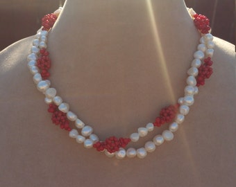 Beautiful freshwater pearl and red cluster flower necklace