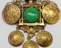 1930's KAYWIN NOVELITY  by Dan Kasoff FLORENZA Founder Oriental Coin Design Pin / Brooch Pendant