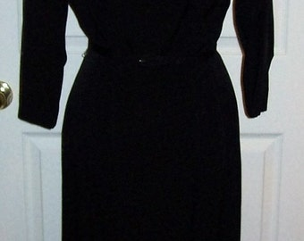 Vintage 1950s Ladies Basic Black Dress by L'Aiglon Small Only 16 USD