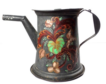 Antique American Painted Toleware Watering Can, 19th Century Painted Toleware