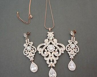 Rose gold jewelry set,Brides jewelry set,Rose gold,Rose gold statement jewelry set,Rose gold wedding jewelry set,Wedding jewelry set, MIA