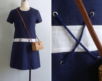 Vintage 70's 'Land Ahoy!' Nautical Rope Ties Navy Blue Shift Dress XS or S