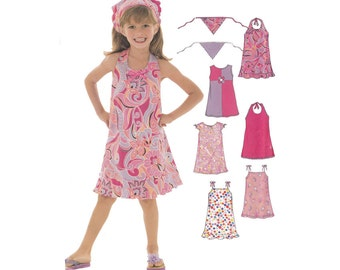 UNCUT Girls Sun Dress Sewing Pattern Childrens Size 3 to 8 Simplicity 6478 Halter or Pullover or Shoulder Straps