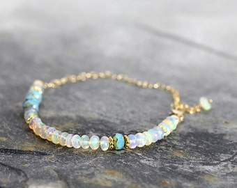White Opal Bracelet - Iridescent Gemstone Bracelet - October Birthstone Bracelet - Opal Jewelry For Women - Fine jewelry Gift For Her