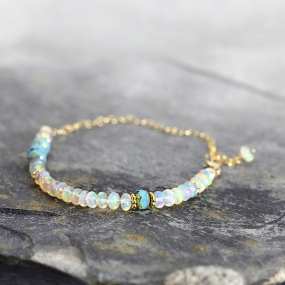 White Opal Bracelet - Fine jewelry Gift For Her