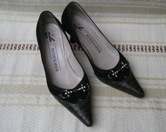 Vintage PETER KAISER suede and leather heels, size 36 (eur), 6 (us)