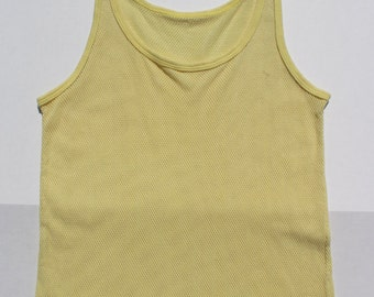 Vintage String Vest Yellow Pastel- Fishnet Vest Net Mesh tank top - Stretchy -slouchy  unisex -Medium -Summer Sun Beach