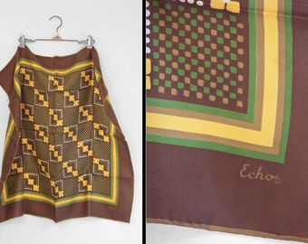 ECHO Brown Scarf 1970s Peck & Peck Silk Green Gold Digital Floral 26 x 27 Inches