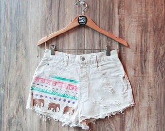 Elephant Denim Shorts, Hand Painted Waves Tribal Aztec Vintage Distressed High Waisted Denim Cut Offs