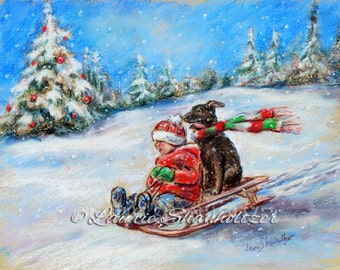 Winter scene - ORIGINAL pastel painting -  Christmas, snow, wall art, child and dog, sledding, Fun 'Winter Sled Ride' Laurie Shanholtzer