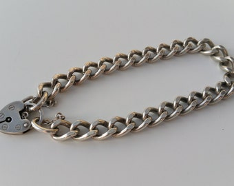 Sterling Silver Charm Bracelet with Heart Padlock - Ready to Fill with Vintage Charms!