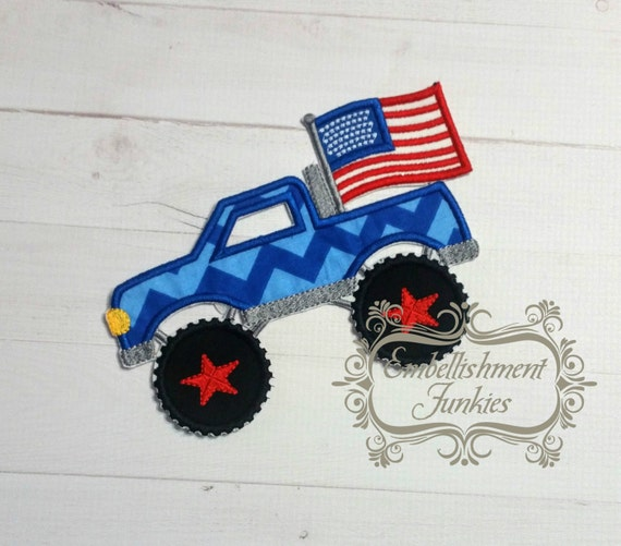 Patriotic monster truck fabric iron on by embellishmentjunkies for Monster truck fabric