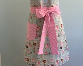 Cute Handmade Women's Full Retro Kitchen Cooking Apron/Pink polka Dot/Paris Confections Print/Hostess Apron