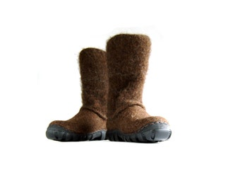 Ready to ship pair of felted boots from natural brown wool in size EU40
