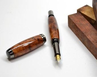 Amboyna burl wood fountain pen - MADE TO ORDER
