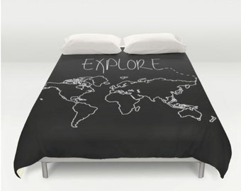 Comforter etsy explore world map comforter or duvet cover twin twin xl full queen gumiabroncs Gallery