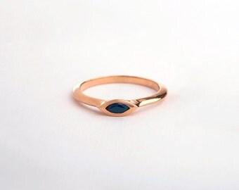 Sapphire Engagement Ring, Saphire Ring, 14k Rose Gold Marquise Ring, 18k Rose Gold Sapphire, Stack Engagement Ring September Birthstone