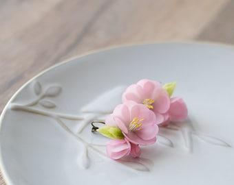 Cherry blossom earrings - sculptural earrings - sakura earrings - flower jewelry - pink flower earrings - delicate botanical jewelry
