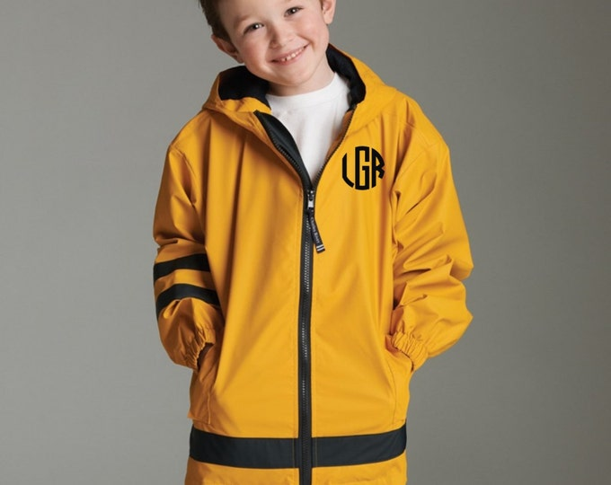 Boy's Monogrammed Rain Jacket - Kids Monogram Rain Jacket - Kids Charles River New Englander Jacket