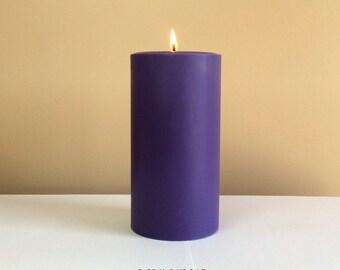 "Dark Purple Unscented Pillar Candle - Choose 4"", 6"", 9"" Tall"