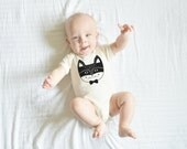 "Screen Printed ""Raccoon"" Organic Baby Bodysuit/ Newborn/ Baby Shower Gift/ Hip/ Modern/ Black & White/  Fun Animal Lover Minimal Simple Life"