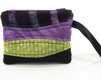 Zipper Pouch, Quilted Wristlet - Purple, Green and Black Batik and Hand Dyed Cotton Zippered Purse, or Cellphone Wristlet, Coin Purse