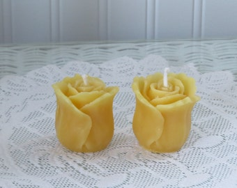 Beeswax Rose Votive Candle Set