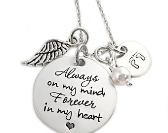 Personalized Memorial Jewelry - Always on my mind Forever in my heart - Miscarriage Remembrance - Miscarriage Necklace - Infant Loss - 1119