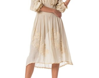 1920s White Embroidered Long Sleeve Dress