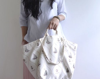 Simple large tote bag. summer beach style sailor pattern market tote