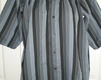 Black and blue stripe Peasant Blouse upcycled from a men's shirt,  44 inch chest, ladies large. Boho style blouse, peasant shirt.