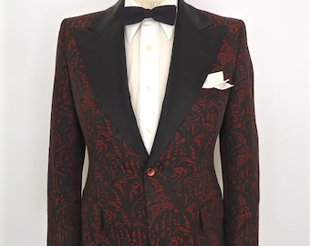 1960s Brocade Tuxedo Jacket with Peak Lapel / vintage red & black jacqard pattern dinner suit coat / After Six Rudofker tux / men's small