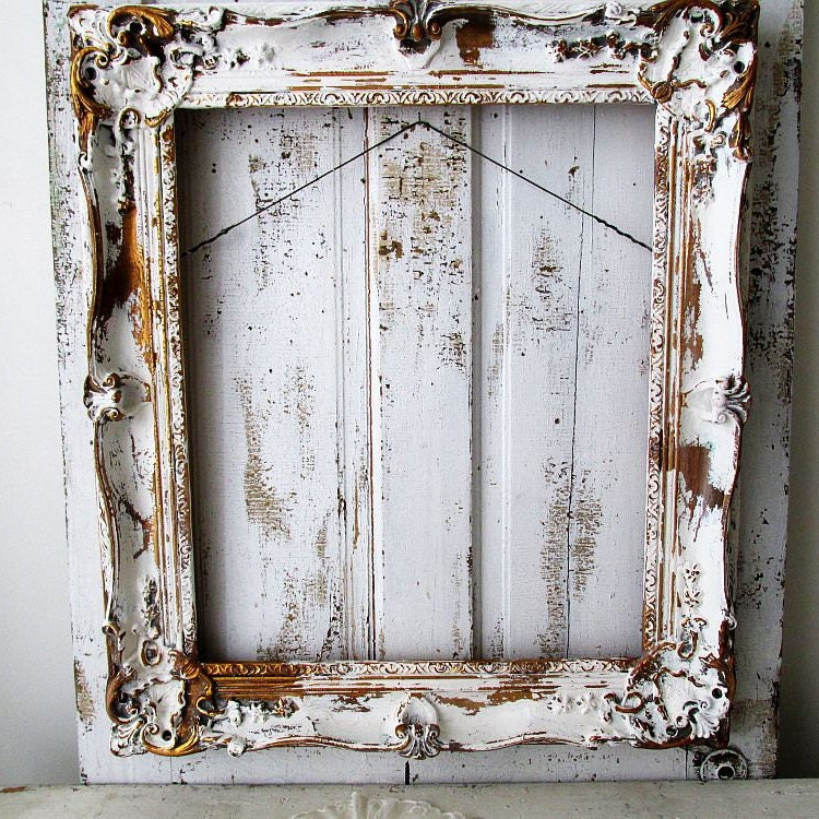 Large Wooden Picture Frame Distressed White W Gold Gilding