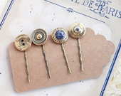 Gold vintage hair pins set, Golden Hair jewelry, Retro hair pins, Shinny Button hair Pin, Upcycling items