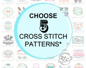 5 Plastic Little Covers Cross Stitch Patterns. Special Offer Listing.