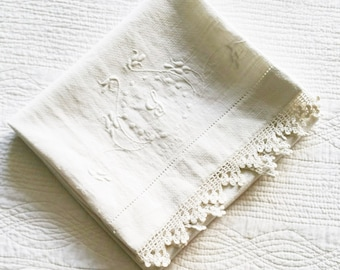 Vintage Cottage Home Heirloom White Monogrammed and Embroidered Crochet Thread Edged Table Linen, Romantic Home, Olives and Doves